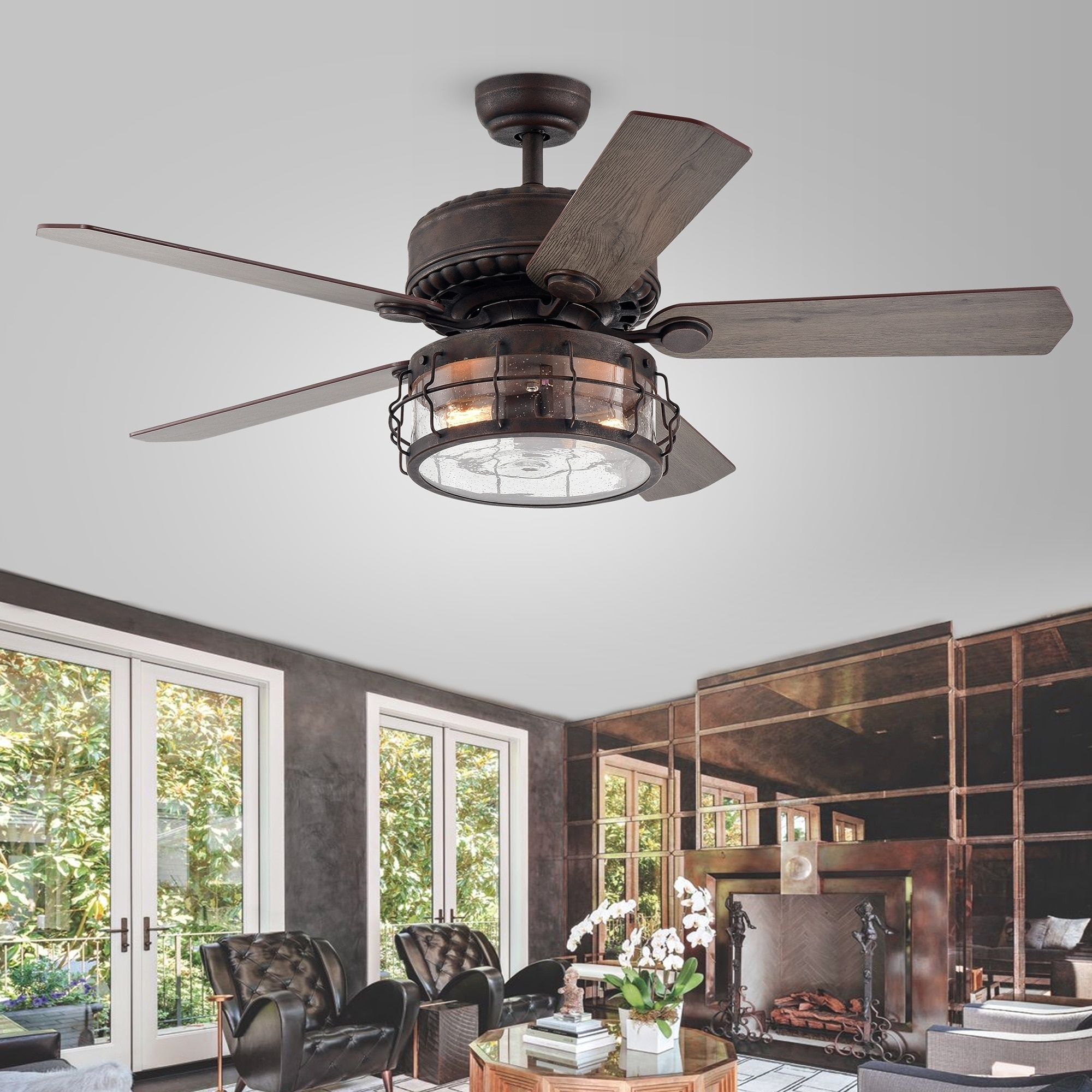 Rustic Contemporary 52 inch Ceiling Fan w Led Cage Light /& Remote Control Bronze
