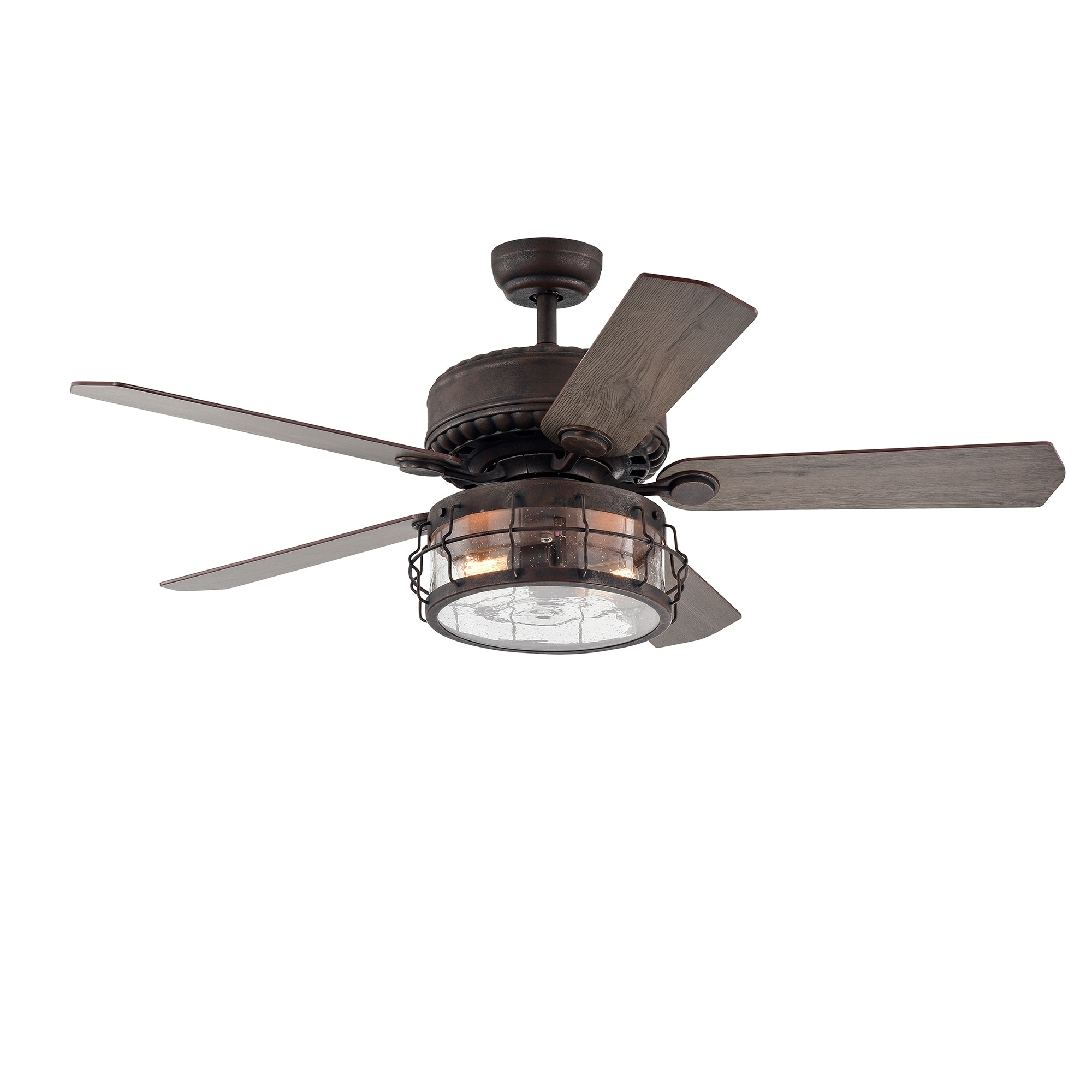 Shop Black Friday Deals On Carbon Loft Kjirsten Rustic Bronze 52 Inch 5 Blade Lighted Ceiling Fan With Caged Drum Shade Includes Remote On Sale Overstock 30501564