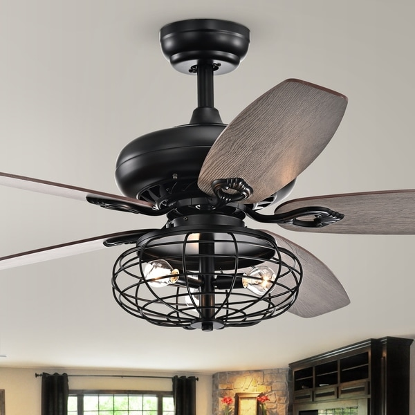 Joye Matte Black 52-Inch 5-Blade Lighted Ceiling Fan with Globe Metal Shade (optional Chrome Finish)
