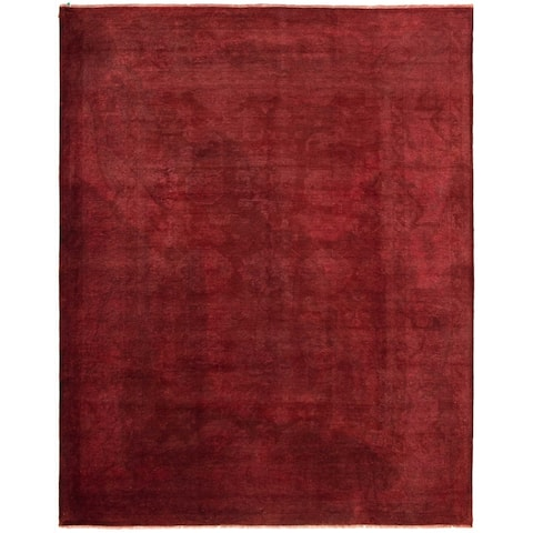 Hand-knotted Color transition Burgundy Wool Rug - 9'3 x 11'8