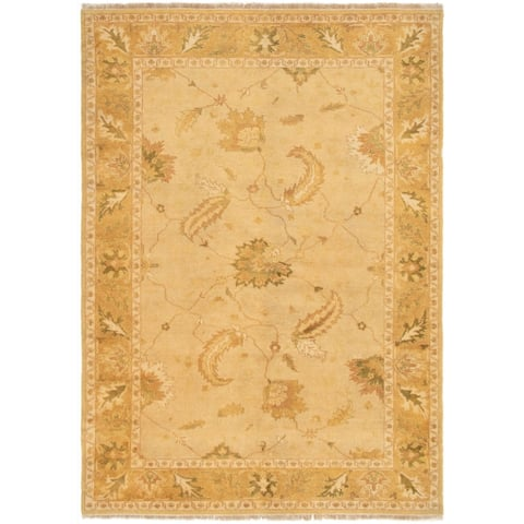 Hand-knotted Finest Ushak Gold Wool Rug