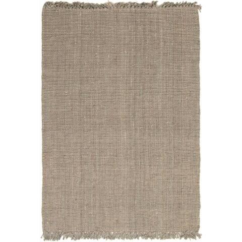 Braid weave Bailey Solid Grey Hemp Rug - 5'11 x 8'10
