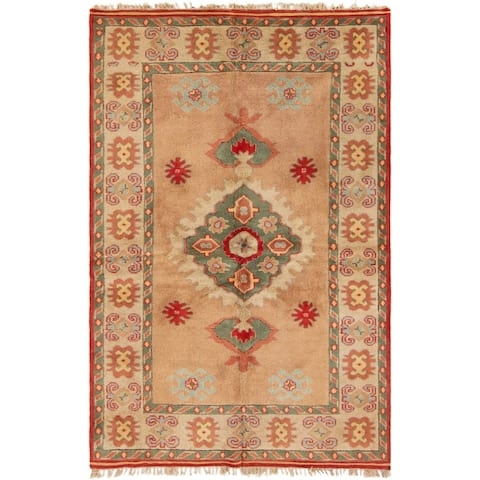 Hand-knotted Melis Ivory Wool Rug - 5'1 x 8'0