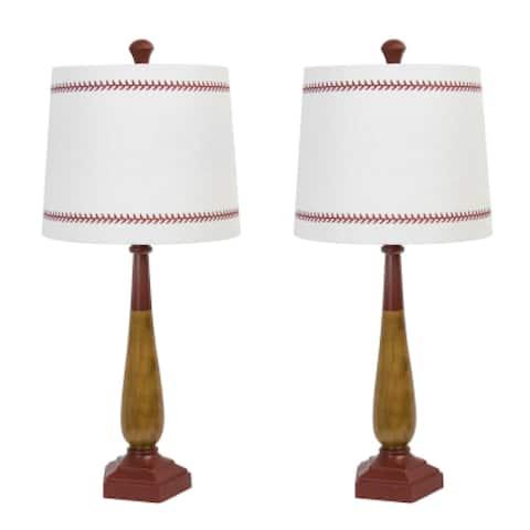 "25.5"" Barnwood & Pompeian Table Baseball Bat Table Lamp Set"