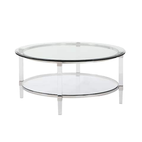 Best Quality Furniture Coffee, End, and Console Table with Round Clear Glass Top and Acrylic Legs