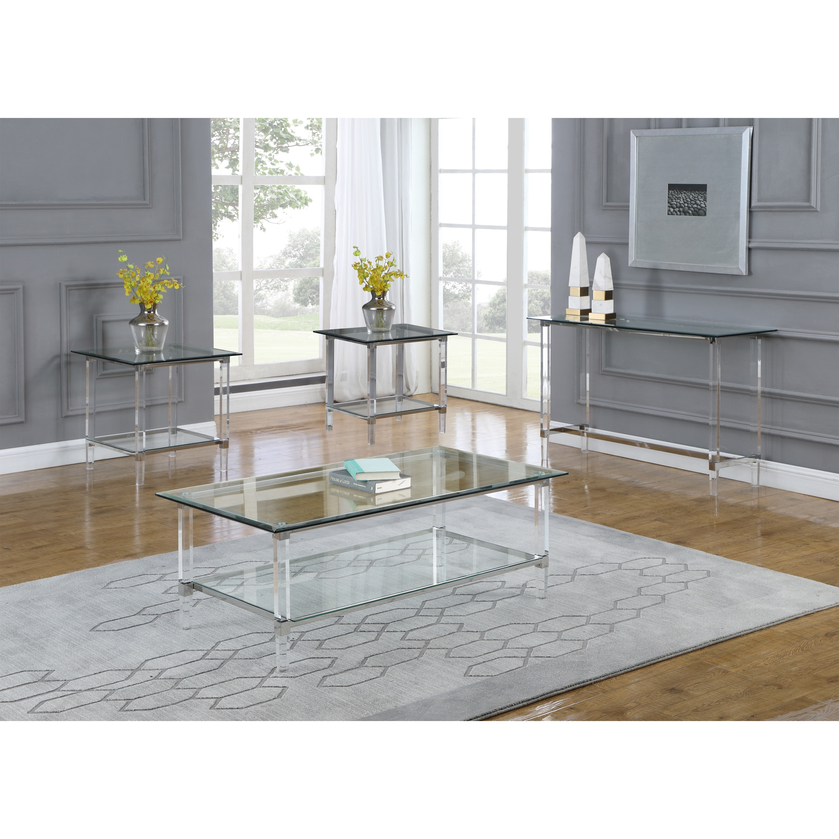 Best Quality Furniture 4 Piece Coffee Table Set With Rectangle Clear Glass Top And Acrylic Legs Overstock 30501905