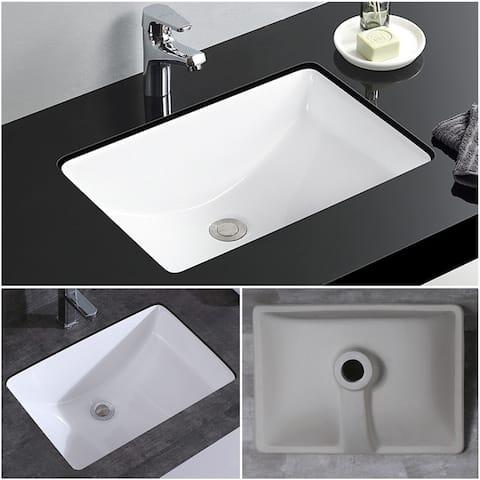 CB HOME Rectangle White Ceramic Undermount Bathroom Vanity Sink