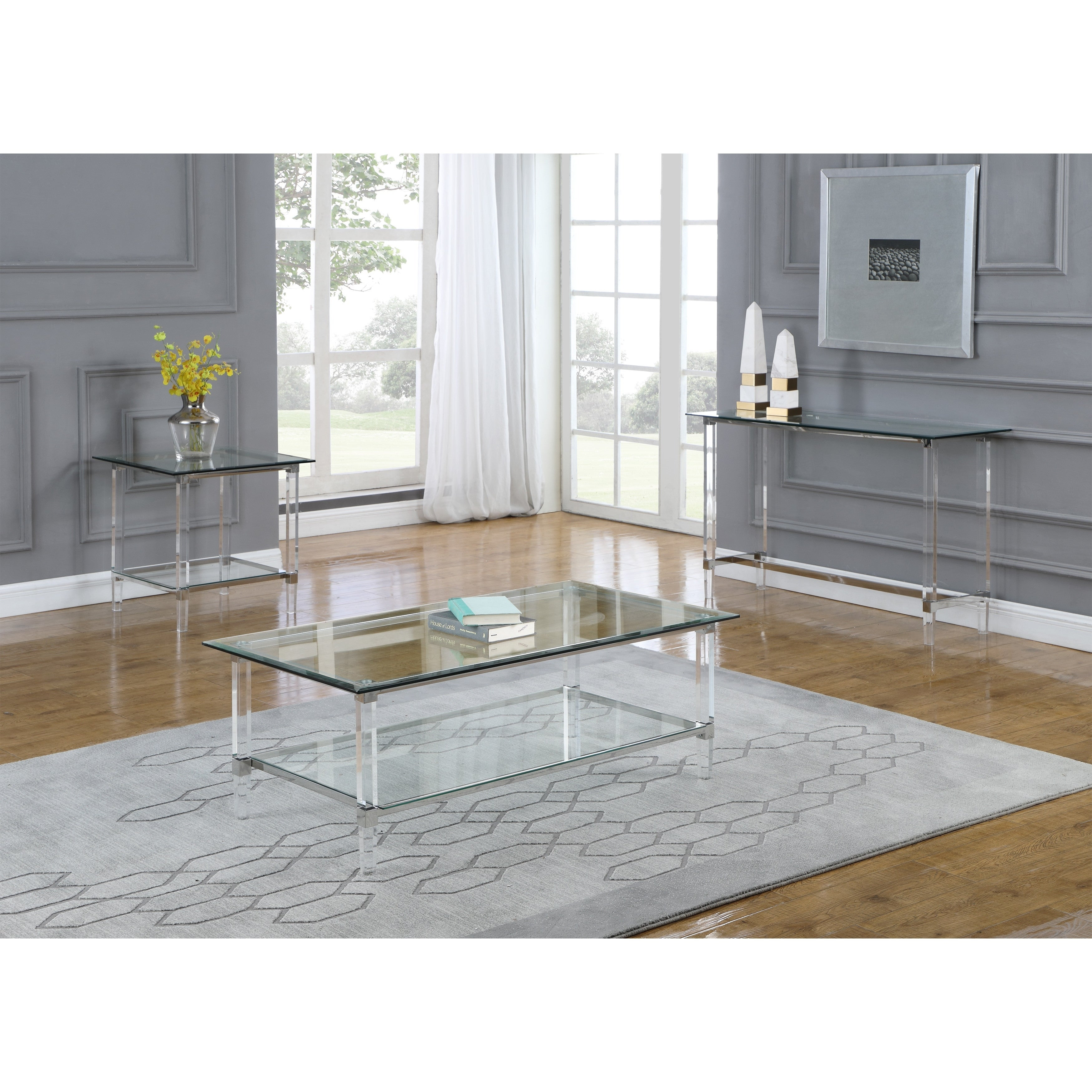 Picture of: Best Quality Furniture 3 Piece Coffee Table Set With Rectangle Clear Glass Top And Acrylic Legs On Sale Overstock 30501927