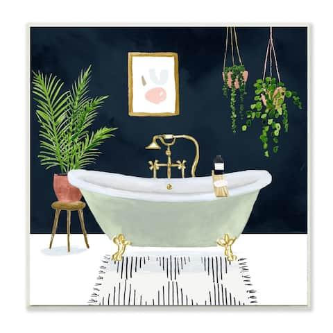 Stupell Industries Designer Bathroom Blue Gold Design,12x12, Wood Wall Art