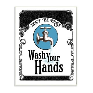 Stupell Industries Wash Your Hands Vintage Blue Black Bathroom Design Wood Wall Art