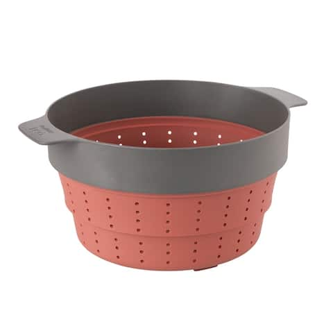 """Leo 10"""" Silicone 2-in-1 Steamer and Strainer, Pink & Grey"""