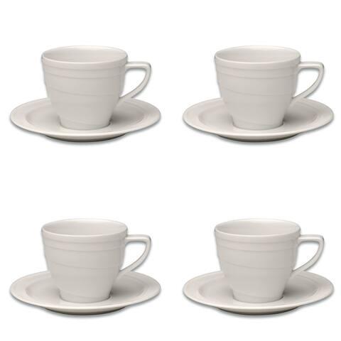 Essentials Set of 4 4oz Porcelain Cup & Saucer - Hotel