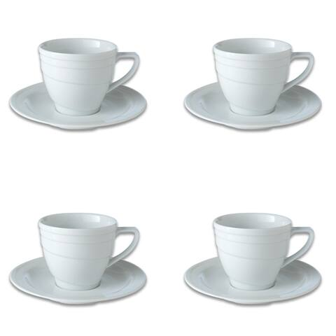 Essentials Set of 4 8.6oz Porcelain Teacup & Saucer - Hotel