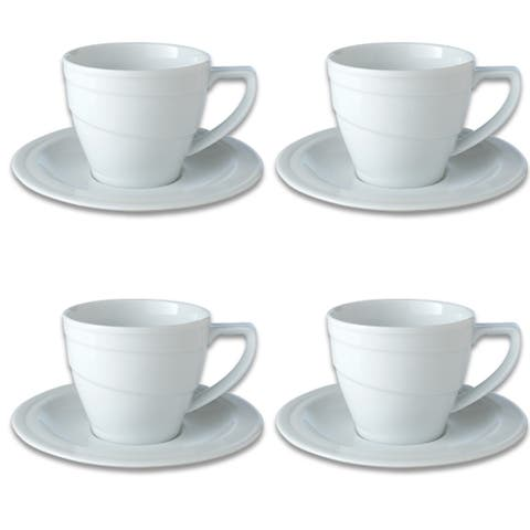 Essentials Set of 4 12oz Porcelain Breakfast Cup & Saucer - Hotel
