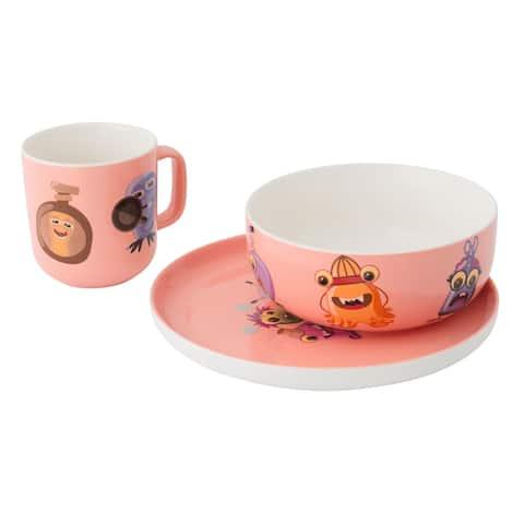 Essentials MonsterChefz 3pc Porcelain Set - Pink