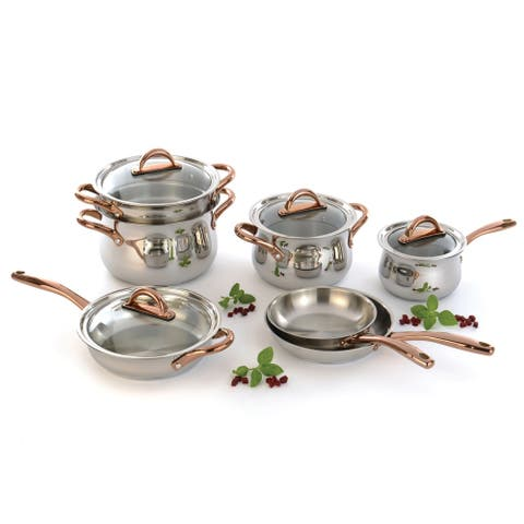 Ouro Gold 11Pc 18/10 SS Cookware Set, Metal Lids