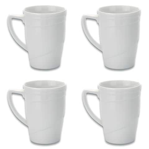 Essentials Set of 4 12oz Porcelain Coffee Mug - Hotel