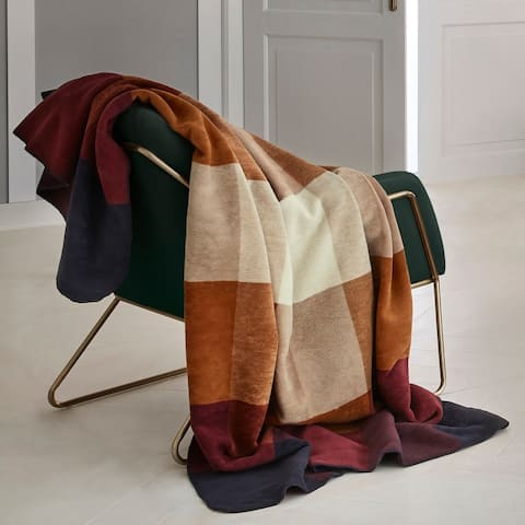 s.Oliver Gold & Burgundy Plaid Throw Blanket