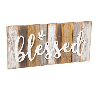 24-inch x 12-inch Blessed Wooden Wall Art