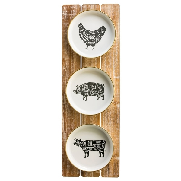 12-inch x 35-inch Farm Animals Metal Plate Sign on Wood Wall Décor