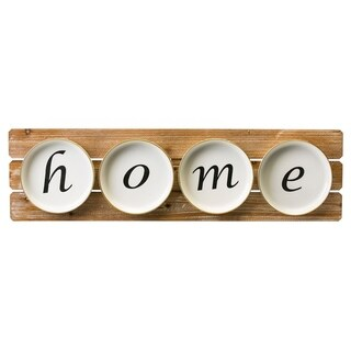 35-inch x 10-inch Home Metal Plate Sign on Wood Wall Décor