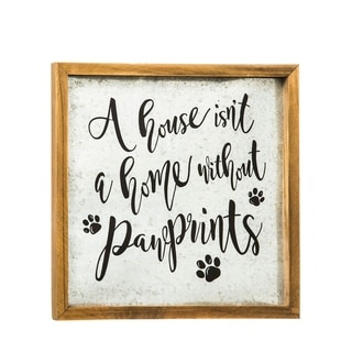 9-inch x 9-inch Pawprints Metal and Wood Wall Décor