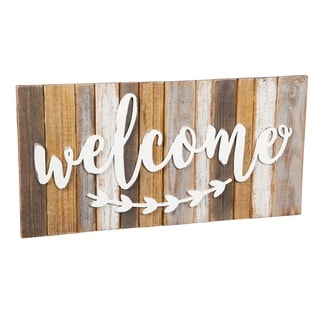 28-inch x 14-inch Welcome Wooden Wall Art