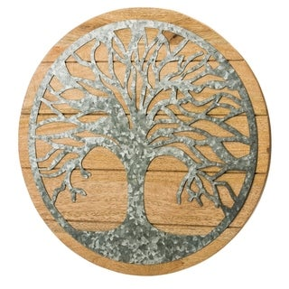 20-inch Round Tree of Life Wood and Metal Wall Décor