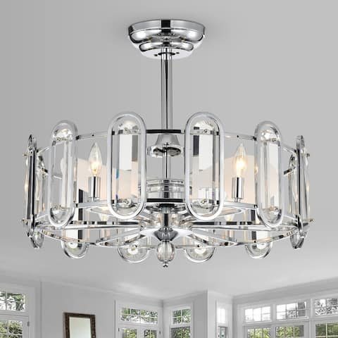 Silver Orchid Harlow Chrome 26-inch 3 Blade Chandelier