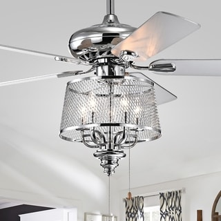 Silver Orchid Loy 5 Blade Lighted Ceiling Fan with Mesh Shaded Branched Chandelier