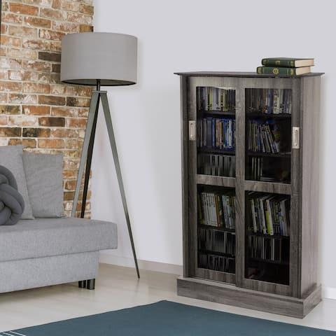Atlantic Driffield Charcoal Gray Adjustable Media Cabinet