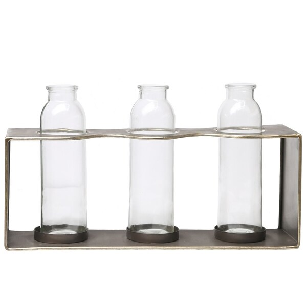 Metal Rectangle Bud Vase Holder with Clustered Glued Bottom Glass Bottles and Smooth Edges Metallic Finish Copper - N/A