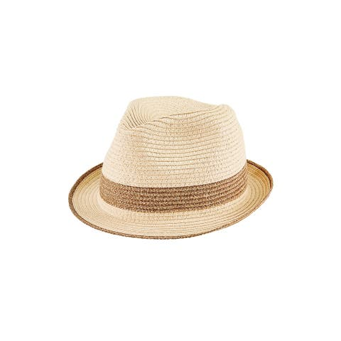 Pbf7354 - Women'S Metallic Stripe Fedora - Gold - Womens O/S