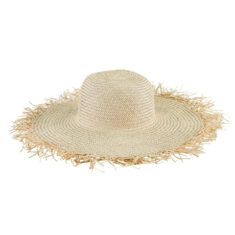 Sps1006 - Women'S Woven Sun Hat W/ Frayed Edge - Natural - Womens O/S