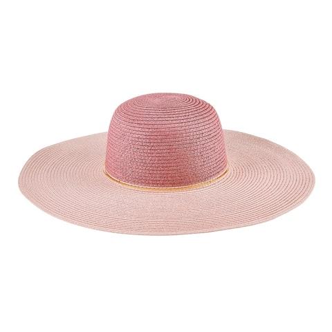 Pbl3208 - Women'S Colorblock Paperbraid Sun Hat W/ Gold Ring Trim - Blush - Womens O/S