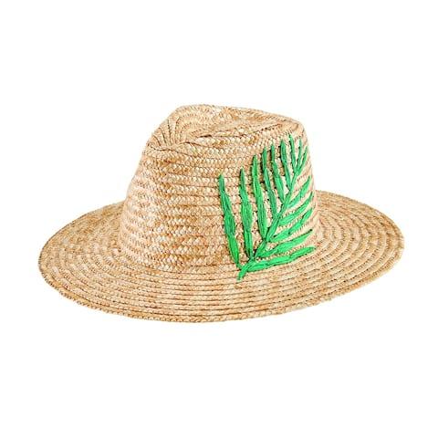 Wsh1224 - Women'S Wheat Straw Palm Fedora - Palm - Womens O/S