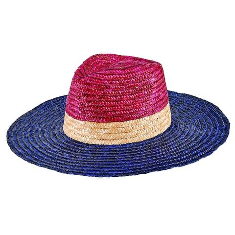 Wsh1225 - Women'S Wheat Straw Tri-Color Fedora - Navy - Womens O/S