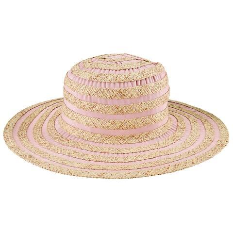 Pbl3212 - Women'S Paperbraid and Ribbon Stripe Hat - Blush - Womens O/S