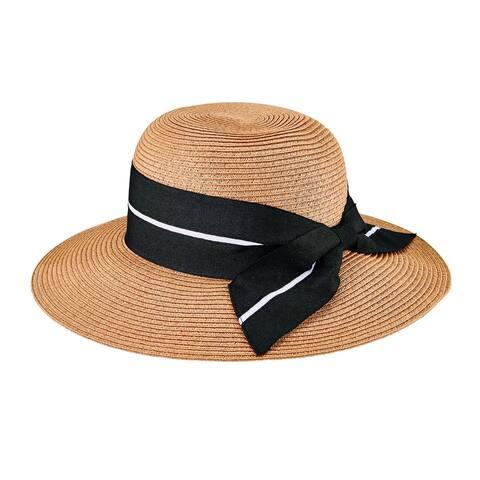 Pbm3023 - Women'S Sun Hat W/ Oversized Stripe Bow - Tobacco - Womens O/S