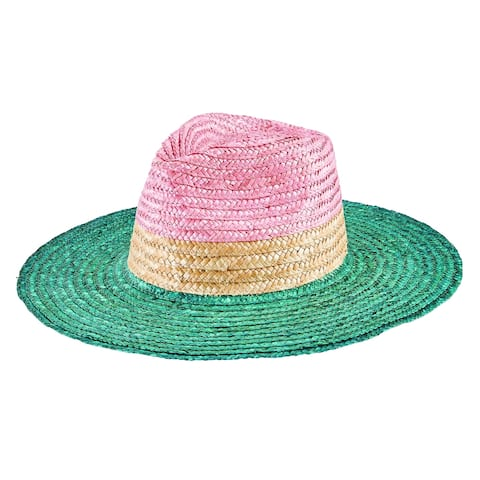 Wsh1225 - Women'S Wheat Straw Tri-Color Fedora - Teal - Womens O/S