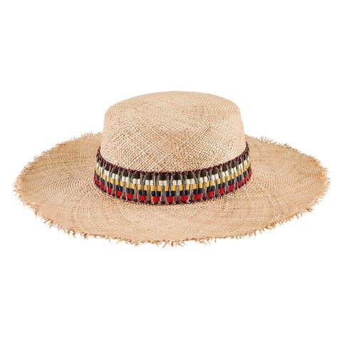 Sps1005 - Women'S Boa Straw Boater W/ Stripe Band - Natural - Womens O/S