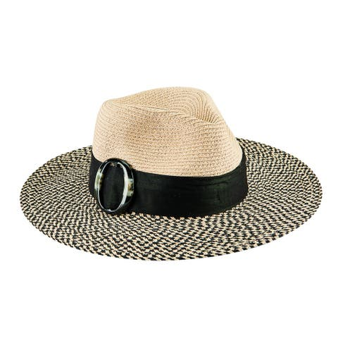 Ubf1118 - Women'S Acrylic Slider Colorblock Fedora - Natural/Black - Womens O/S