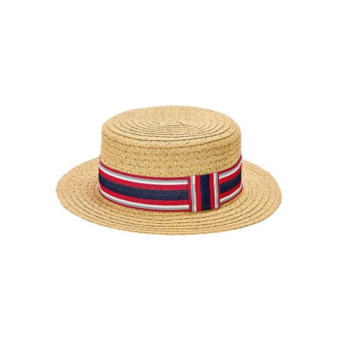 Wsh2000-Men'S Paper Braid Boater with Striped Grosgrain Knot Band Adjustable Velcro Closure - Natural - Mens O/S