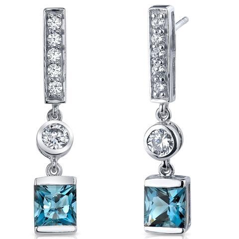 1.25 ct Princess Cut London Blue Topaz Dangle Earrings in Sterling Silver