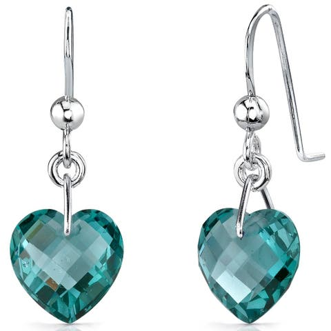 1.5 ct Heart Shape Spinel Dangle Earrings in Sterling Silver