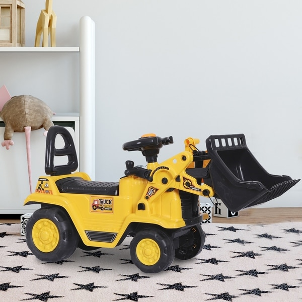 HOMCOM 3 in 1 Ride On Toy Bulldozer Digger Tractor Pulling Cart Pretend Play Construction Truck. Opens flyout.