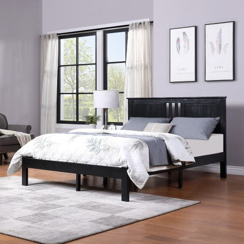 Norland Modern Farmhouse Acacia Wood Queen Bed Platform by Christopher Knight Home