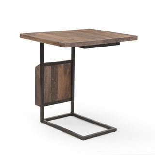 """Onzaga Modern Industrial Mango Wood Adjustable C-Shaped End Table by Christopher Knight Home - 12.00"""" W x 20.00"""" D x 27.00"""" H"""