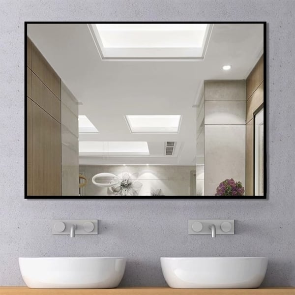 Shop Modern Large Black Rectangle Wall Mirrors For Bathroom Vanity Mirror On Sale Overstock 30505348 38 X 26