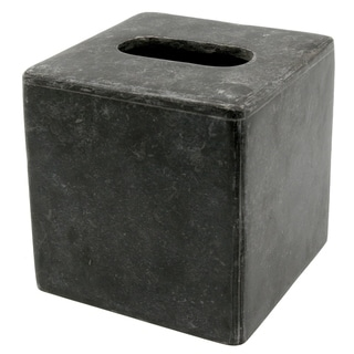 """Creative Home Charcoal Marble Square Box Holder Tissue Cover, 5.2"""" x 5.2"""" x 5.5"""" H"""